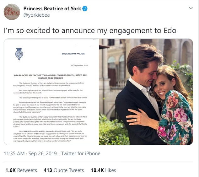 The last time Princess Beatrice tweeted was over a year ago in September 2019, to announce her engagement to Edo