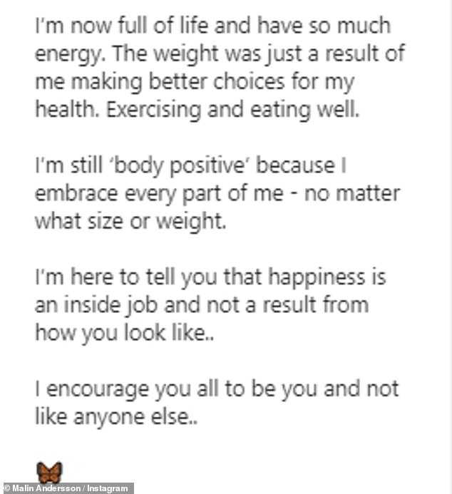 Weight loss: Captioning the post, Malin once again reiterated her reasons for losing weight, after first outlining her plans in July