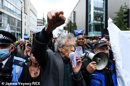 Jeremy Corbyn's brother Piers (pictured) today led a demonstration against the Covid lockdown rules