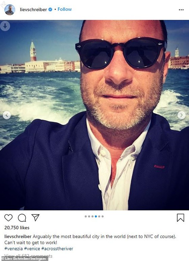 Literary adaptation: The former Ray Donovan actor is in Venice to film Across The River And Into The Trees, based on Ernest Hemingway's last published novel during his lifetime