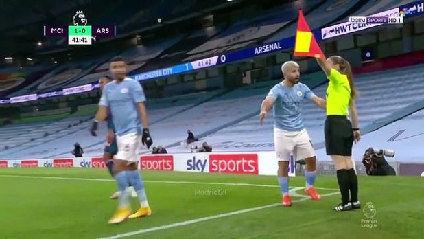 Sergio Aguero complains to assistant referee Sian Massey-Ellis on the throw-in decision