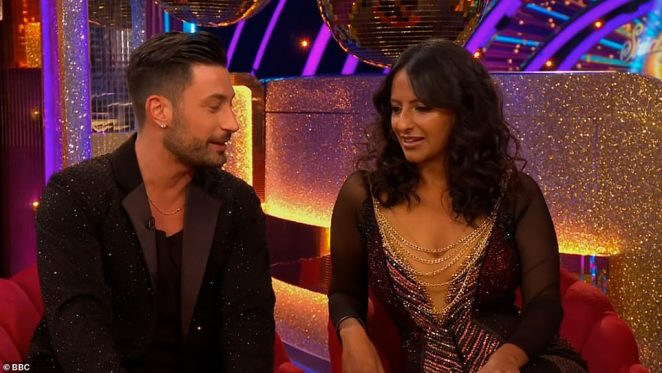 Lovely: Next up to meet their professional partner was GMB star Ranvir Singh, 43, who was paired with Giovanni Pernice, 30