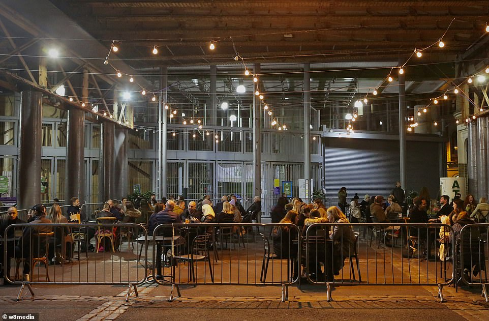 People were placed at a social distance from each other at the pub terrace in borough market amid a rise in coronavirus cases in the capital