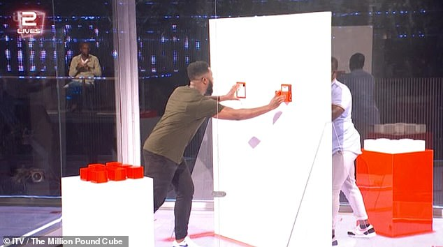 Stress: The highly anticipated show saw comedian Mo Gilligan, 32 (pictured) take on the formidable Cube on Saturday where he took on simple challenges under immense pressure