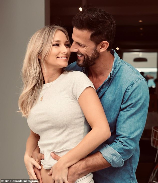 Loved up:Tim and Anna wed at a fairytale Italian ceremony in June 2018. They announced their baby news in May. Both pictured