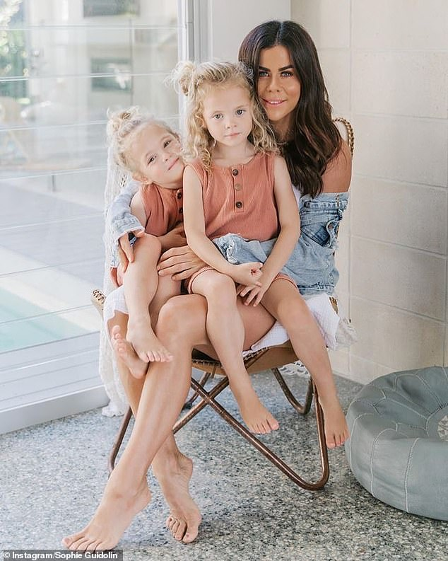 Typically, the Guidolin family eats out twice a week - which she budgets for in the diary - but otherwise she opts for large dishes that can double up as lunches for the next day in her meal plans (Sophie pictured with her kids)