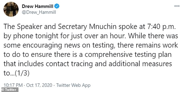Drew Hammill, Nancy Pelosi's chief of staff, posted a statement on Twitter that provided an update on ongoing negotiations over COVID-19 relief