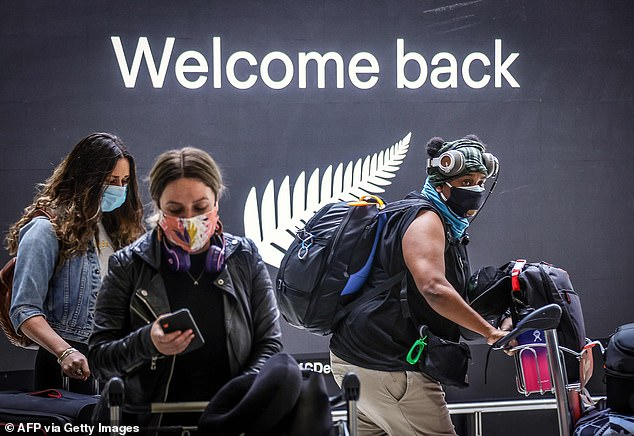 New Zealand passengers arrive at Sydney Airport on Friday when the travel bubble opened