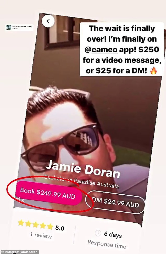 Book me! Sharing the news to his Instagram stories, Jamie wrote: 'The wait is finally over! I'm finally on Cameo app!'