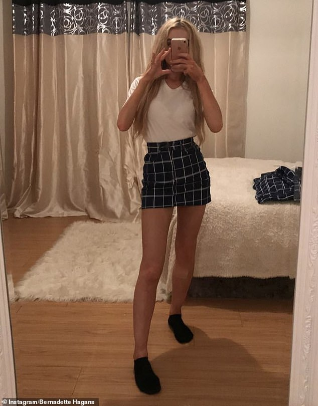 Bernadette, pictured before her amputation, was diagnosed with synovial sarcoma in August 2018, and was told she'd have her right leg amputated through her knee at the age of 22