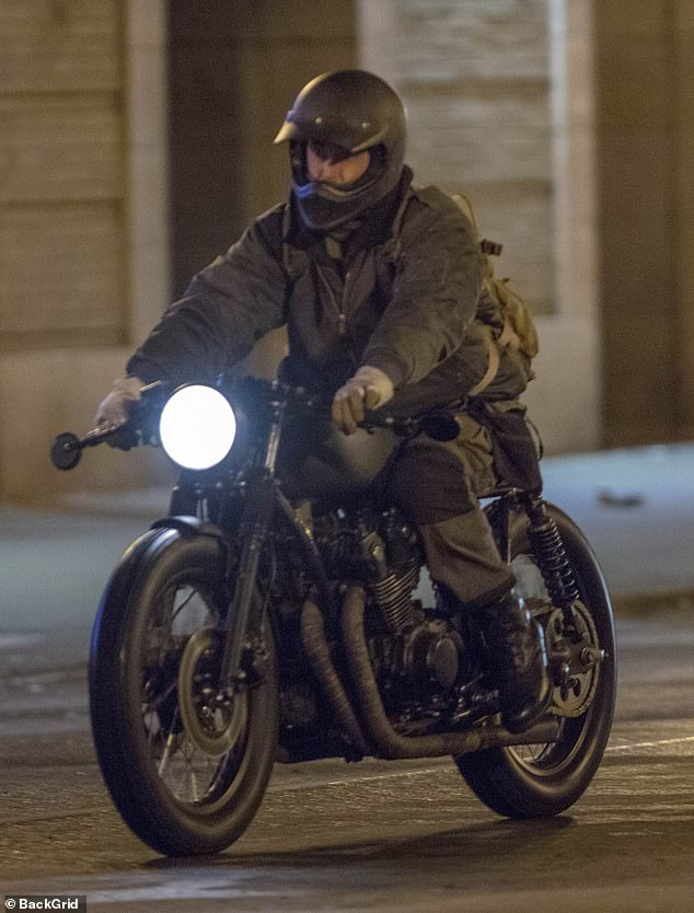 Chase: An unrecognisable Colin Farrell, 44, filmed a high-stakes chase scene for The Batman in Chicago on Saturday
