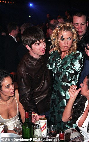 Speaking to the Observer , the socialite and former wife of Noel Gallagher, 54, said she has perimenopausal symptoms from the age of 40, which included 'really bad anxiety' where she felt 'overwhelmed with life' due to lack of oestrogen. She is pictured with Noel in 1996
