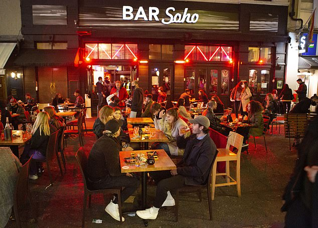 Bars and pubs were also busy in London, which has recently been moved into Tier 2 of the new alert system