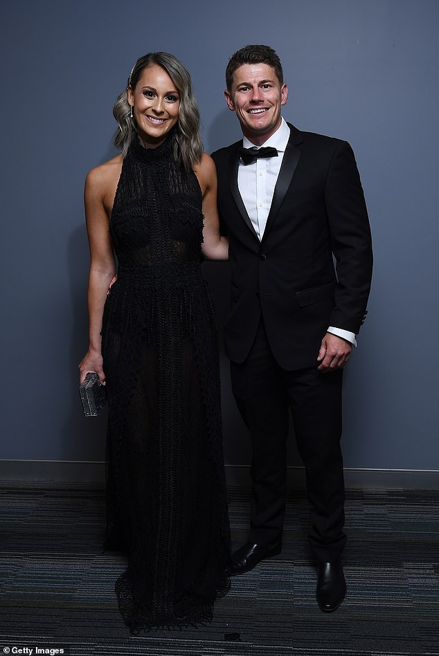 All class:Dayne Zorko of the Lions and his partner Talia Demarco made a classy pair with Dayne in a fitted black tux