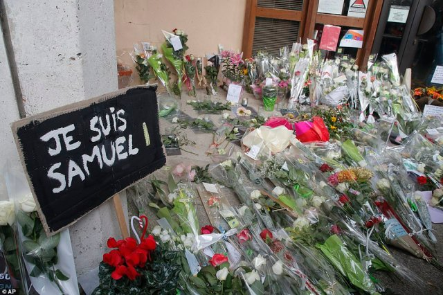 Shrines have now appeared in Paris after the horrific attack after which the killer Aboulakh Anzorov, 18, was shot dead by police