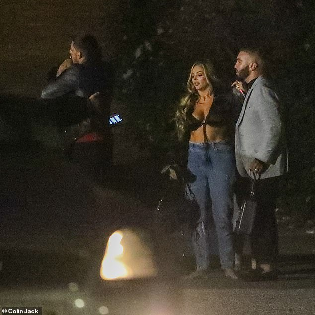 Looking good:The star styled her blonde locks into voluminous curls for the evening as she cut loose with her pals