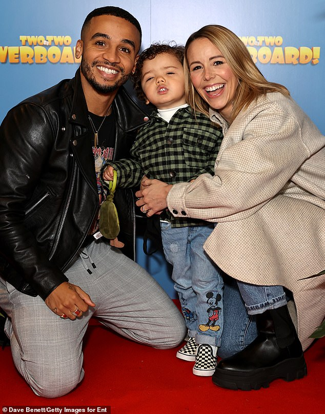 Cute:Former JLS singer Aston Merrygold, 32, looked suave in a leather jacket, as he attended alongside his wife Sarah Richards and their son Grayson
