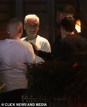 Fans: During his night out, the presenter was approached by a group of fans