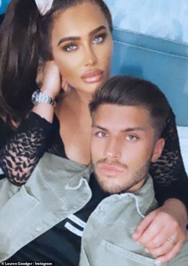 Smitten: The former TOWIE star, 34, also shared a cosy selfie with the builder, 23, to her social media on Sunday night after going Instagram official with their romance