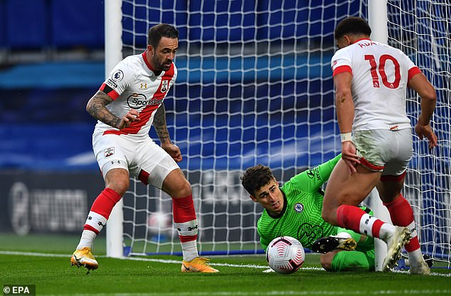 But Chelsea conceded on either side of half-time via Danny Ings (left) and Che Adams (right)