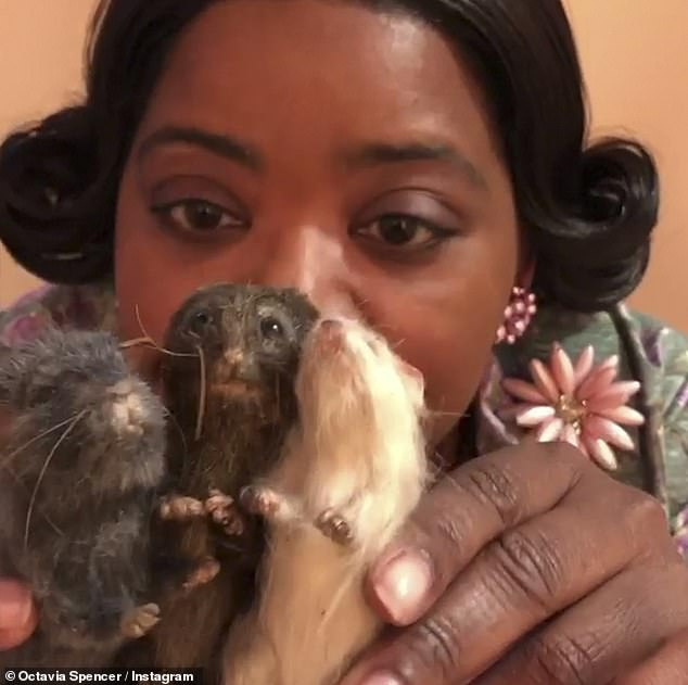 Silly! The 47-year-old Oscar winner also posted a video of herself goofing around with her three mice castmates and singing Dionne Warwick's 1985 song That's What Friends Are For