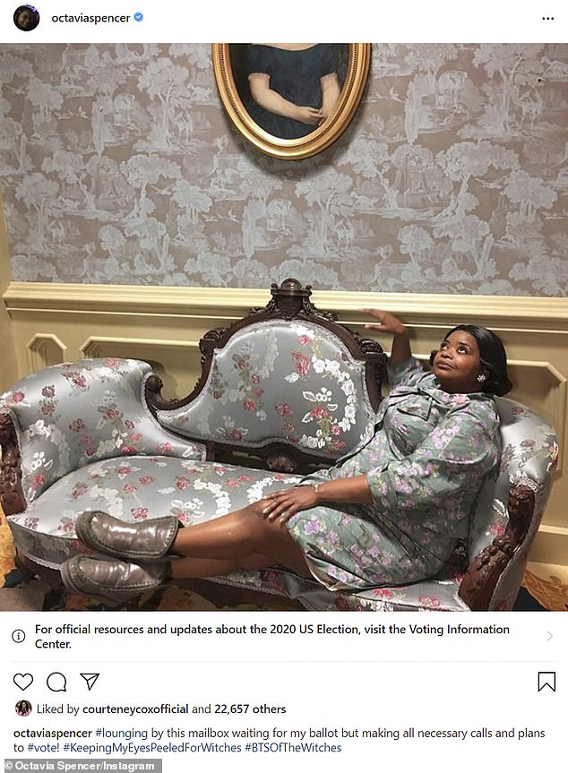 '#BTSofTheWitches': Last Wednesday, the former child star's onscreen nemesis - Octavia Spencer - shared her own on-set snap of her character The Grandmother lounging on a couch