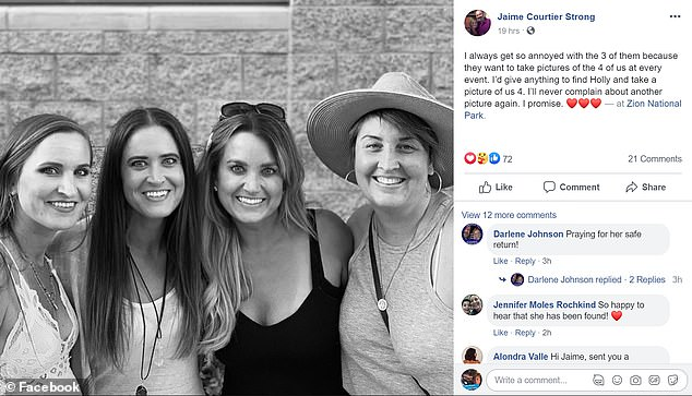 Jaime Courtier Strong, one of Holly's sisters, shared this Facebook photo showing Holly and her three sisters during the search
