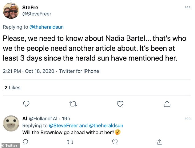 'Why hasn't The Herald Sun updated us on the whereabouts of the brave Nadia Bartel yet!?' Many comments were made response to a Tweet about the 2020 Brownlow Medal by The Herald Sun - which regularly publishes glowing stories about Nadia