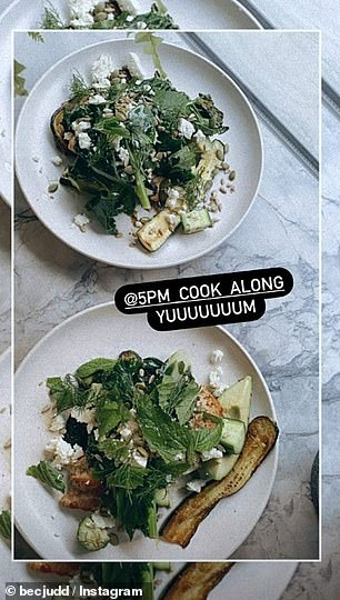 In the kitchen: A far cry from her famous appearance on the star-studded red carpet years earlier, Rebecca shared two images of the delicious meals she had prepared for the evening