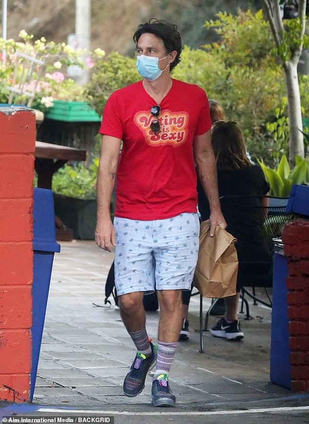 Political statement: The Garden State star and director wore a 'voting is sexy' t-shirt during his quick excursion to a market in the Hollywood Hills
