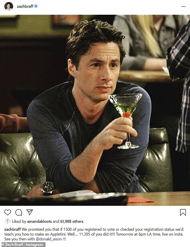 Mission accomplished: The Garden State actor and director revealed nearly 12,000 people registered to vote or checked their registration status after he and Donald Faison had promised to teach fans how to make an appletini if they surpassed 1200