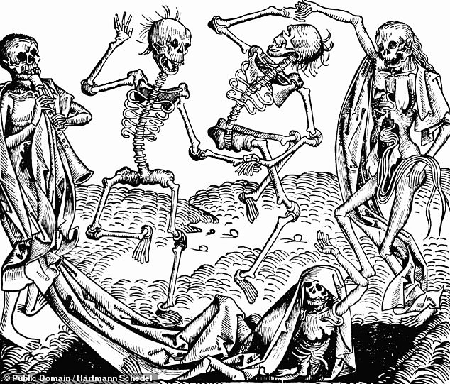 The findings could help scientists to better understand how other diseases — such as COVID-19 — spread today. Pictured, the Danse Macabre, inspired by the Black Death