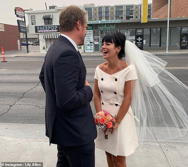 Smitten: The brunette has been on the cloud since she tied the knot with actor David Harbor, 45, in Las Vegas last month