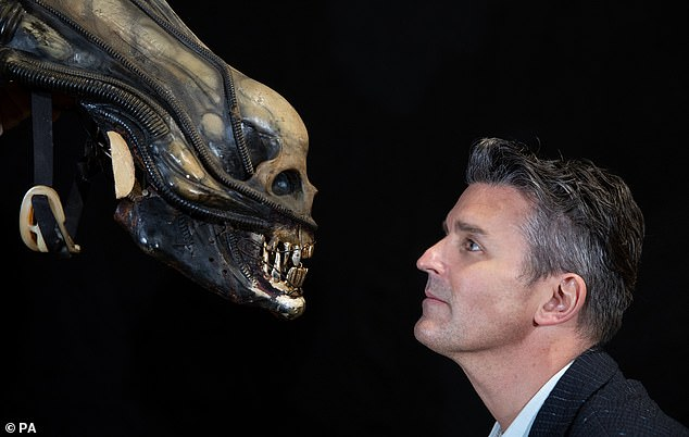 Who you looking at: The mechanical alien head from the 1979 sci fi classic Alien is going for an estimated £40-60,000