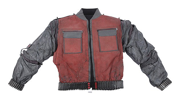 Cool cat: Marty McFly's red and grey bomber jacket is going for a bargain £12-15,000