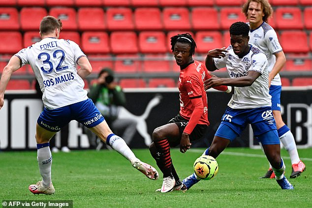 At just 17Eduardo Camavinga (centre) has emerged as a player with frightening potential