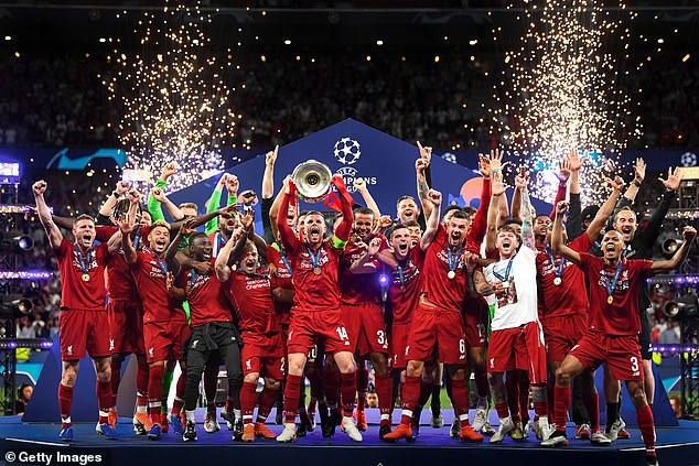 The winners of a European Super League could expect to earn £1 billion for their efforts - much more than Liverpool scooped for winning the Champions League in 2019 (above)
