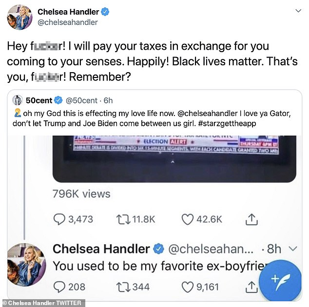 'In exchange for you coming back to your senses': Chelsea kept the conversation going as she retweeted her ex's latest tweet and even offered to pay his taxes