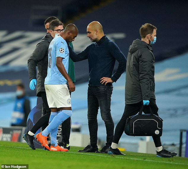 Pep Guardiola could be without his Brazilian defensive midfielder for four to six weeks