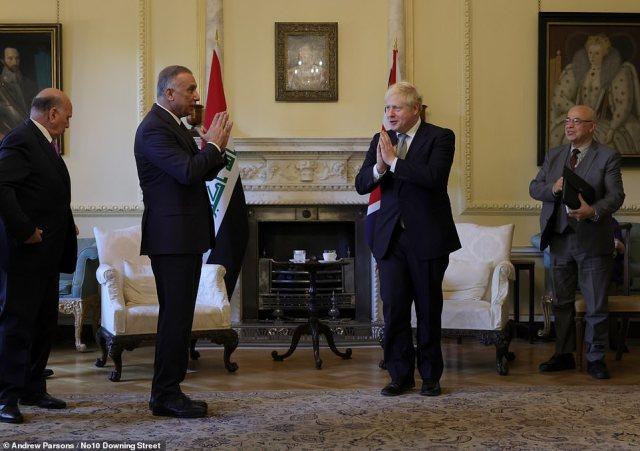 Meanwhile, Boris Johnson met withIraqi Prime Minister Mustafa Al-Kadhimi in Downing Street yesterday