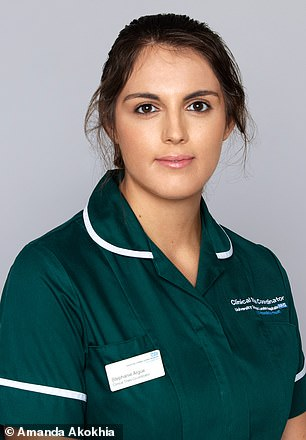 Stephanie Argue, a clinical trial coordinator for University College Hospital, (pictured in uniform) was selected by coworkers to go on the shoot