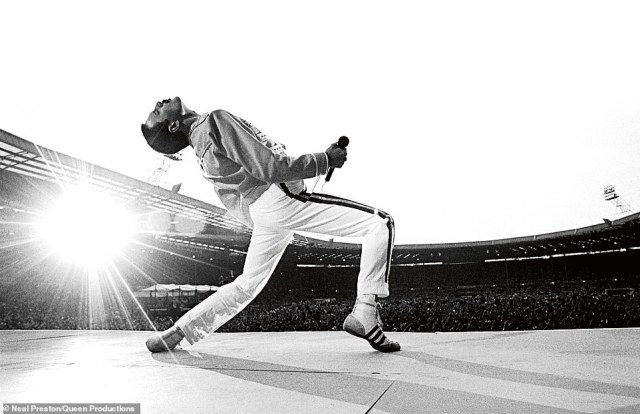 Preston took the this iconic photo of Freddie Mercury on stage at Wembley Stadium in 1986. The tour would inevitably become Queen's last, as Mercury was diagnosed with AIDS one year later. He said: 'It really hit me that this was not the band I¿d shot in 1976 in Santa Monica. This band was another animal altogether. They were mammoth'
