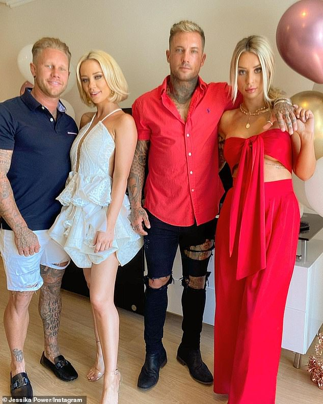 Short-lived: Jessika had only announced her relationship with tattooed Samuel on October 23. She is pictured here with Samuel, her brother Rhyce and his girlfriend