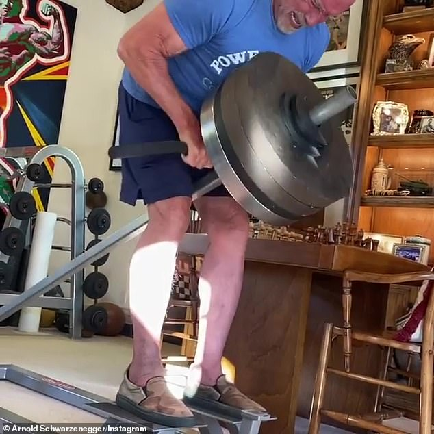 Staying fit:Schwarzenegger has been staying active amid the pandemic, sharing photos and videos of him keeping up his rigorous workout routine