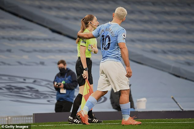 Aguero has come under fire for putting his arm around Sian Massey-Ellis during a game