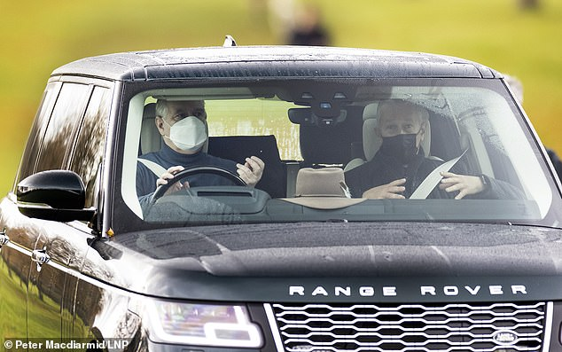 Prince Andrew wore a face covering today as he was seen for the first time since bombshell Maxwell files were released on Thursday
