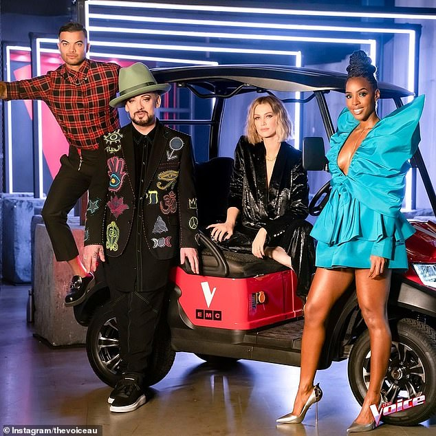 """This year's panel: Rumors are now circulating that Delta, the longest-serving judge on The Voice, was boned by Seven due to a """"salary conflict"""". She is pictured from left to right with her 2020 coaching colleagues: Guy Sebastian, Boy George and Kelly Rowland"""