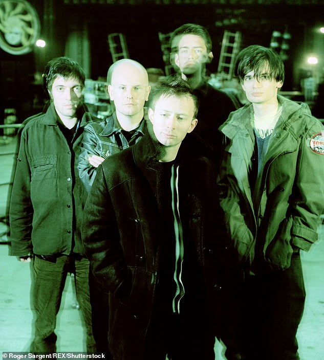 Guest list: Thom's Radiohead bandmates - Colin Greenwood, Phil Selway, Ed O'Brien and Jonny Greenwood - are said to have all attended the wedding (pictured in 1997)
