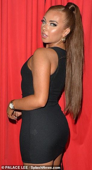 LBD: Demi Jones, a former love islander, wore a tight black number