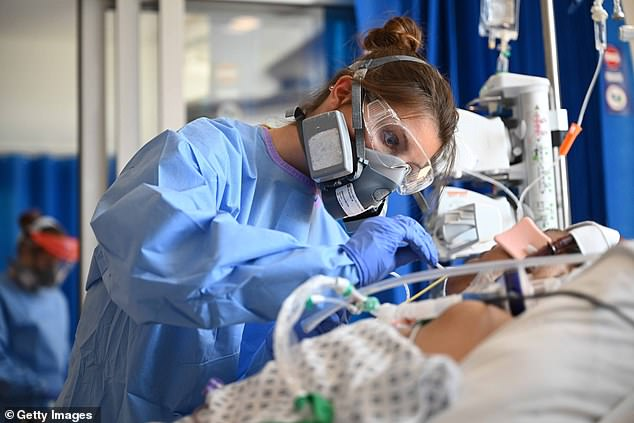 A survey from the British Medical Association of over 6,000 doctors found the majority were not confident the NHS would cope this winter and did not have faith in the Government's pandemic strategy. Pictured:Clinical staff wear PPE as they care for a patient at the ICU